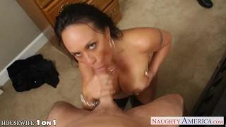 Busty brunette housewife Mariah Milano POV fucking
