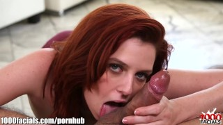 Redhead bitch's a facials my cock spitting on forhead load facialized