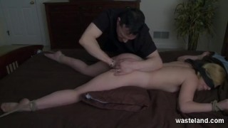 Blonde slave blindfolded gets plug spanked the on butt bed with submission sex