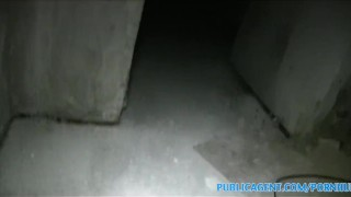 PublicAgent Brunette with big boobs fucked in a cellar