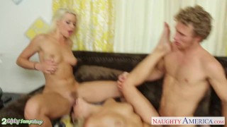 Blondes anikka threesome in albrite fucking and mia malkova busty dick