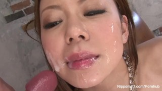 Gets blowbang after cum in slut showered boob big big blow