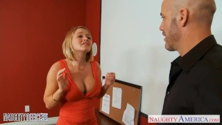 Nailed lynn blonde babe office gets krissy tits cum