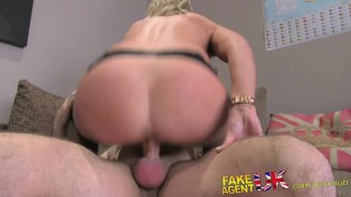 FakeAgentUK creampie for sexy blonde MILF in adult casting Daddy wanking