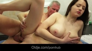 Big breasted teeager girl tease old man to fuck her horny wetty