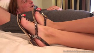 Megan Rain Shoves Feet In Lover's Mouth And Give A Footjob