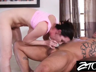 Hot MILF fucks her personal trainer while her husband is away