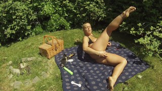 Is dildo tits perfect and the rub a on park to oil public pussy my place toys outside