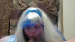 sneak peek to my new hot video white and blue hair BBW sucks fucks and nut