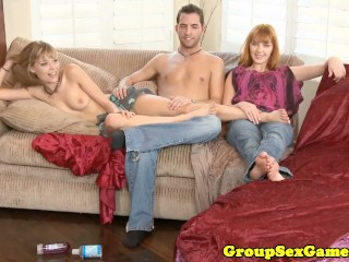 Real ginger amateur in threeway with hairy pussy