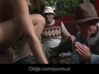 Wandering in the forest girl gets fucked by two old hobos