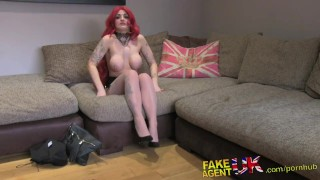 Preview 3 of FakeAgentUK Casting couch amateur gets creampied against desk
