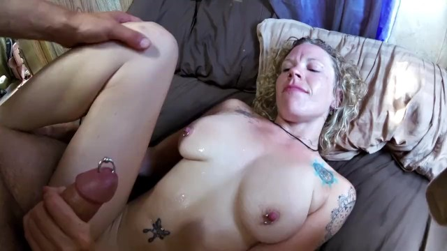 Clit peicing - Freshly pierced, swollen clit gets fucked