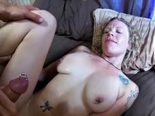 Freshly pierced, swollen clit gets fucked