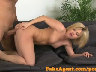 FakeAgent Horny blonde amateur fucked hard in office