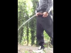 Teen Boy Pissing in Public