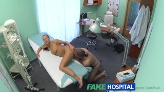 Screen Capture of Video Titled: FakeHospital Hot brunette nurse gives patient some sexual healing