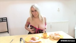 Busty Melissa Mandlikova get brekfast and masturbate on table
