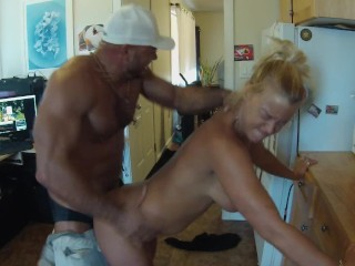 Breaking in my roommate's new boyfriend with a blow job and some fucking