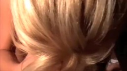 Beautiful blonde gives the perfect blowjob and gets cum in her mouth
