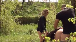 Slut disgraced outdoors busty kink tease