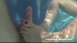 Footjob and sex in a pool in front 2 friends