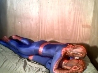 Spiderman humps and gasses his fake spiderman enemy