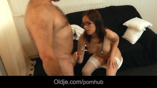 Glassed young brunette roleplays doctor and suck old man dry