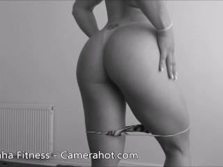Tanned brazilian ass - Bikini strip latina - fitness legs