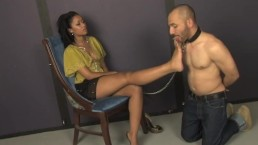 Slave humiliation and foot fetish by beautiful Skin Diamond