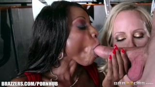 Ebony and ivory, anal threesome - Brazzers Sloppy view