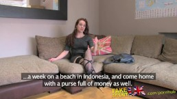 FakeAgentUK Office couch sex session for sexy Amsterdam stripper