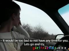 Girlfriends Cute girls explore lesbian fantasy on road trip
