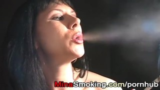 Smoking handjob by sexy strict housewife Mina