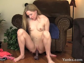 Small Breasted MILF Chloe Riding A Big Black Toy