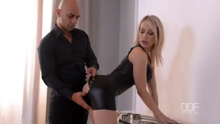 Blonde creamed gets submissive chessie cuffed kay and big facial