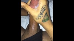 HOT black tranny CUM shot