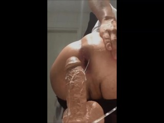 First Anal Squirting dildo with nice creampie