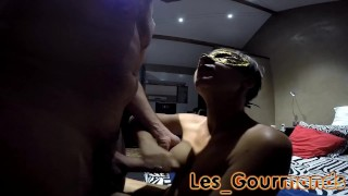 With new mask blowjob cumshot dogging facial dogging