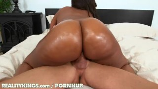 Reality Kings - Curvy ebony babe takes big white cock porno