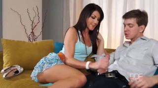 Penelope takes a hot load of cum in her mouth