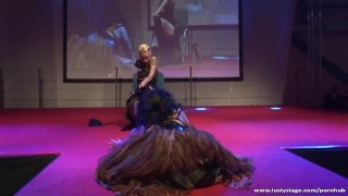 Black and white lesbian action on the stage