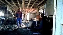 Horny spider looking for his enemy in bombed out building