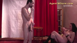 Wild cougar does erotic show for shy stranger