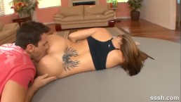 Naughty blonde gets a sexy naked workout from her personal trainer