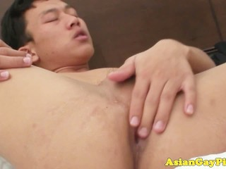 Gay asian twinks tug little dicks after anal