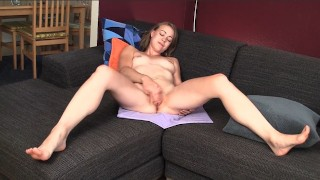 Tall blonde Mab spreading her long legs and masturbating her pussy