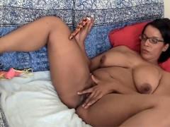 Busty amateur honey Natalia toying her black snatch