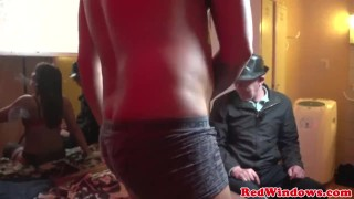 Amsterdam lingerie hooker gets a cum mouthful