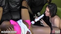 Hot lesbian babe caught wanking makes busty ebony slut cum with big toy